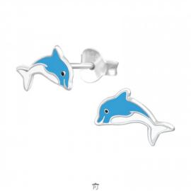 Zilveren Kinder Oorbellen Dolfijn Blauw Wit