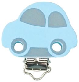 Speenclip Motief Auto Licht Blauw/Licht Grijs 30x40mm