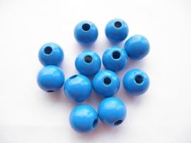 Speenkoord Kraal Hout Midden Blauw 12mm