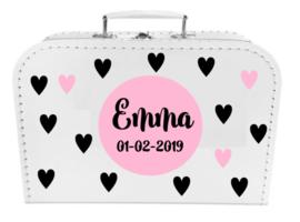 Kinder Koffertje met naam en geboortedatum model Emma, 25cm