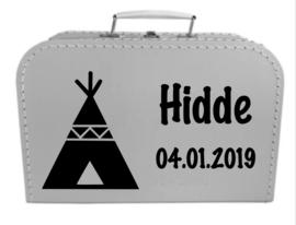 Kinder Koffertje met naam en geboortedatum model Hidde, 25cm