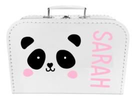 Kinder Koffertje met naam en pandabeer model Sarah, 25cm