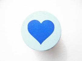 Schijfkraal Hartje Pastel Blauw 20mm