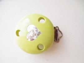 Speenclip Glitter Hart Licht Groen