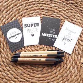 Pen voor 'de tofste meester ' inclusief mini kaartje