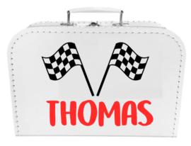 Kinder Koffertje Formule 1 met naam model Thomas, 25cm