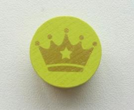 Schijfkraal Kroontje Licht Groen /Goud 20mm