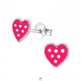Zilveren Kinder Oorbellen Hartje Roze met stippen