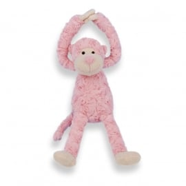Slingeraapje | zacht knuffeltje met naam en geboortedatum | Roze 45cm