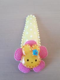 Haarspeldje 5cm Geel klikklak speldje met witte stippen | geel konijntje