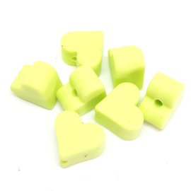 Silicone Kraal Hartje voor Speenkoord Licht Groen 10x8mm