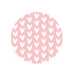 Kadosticker rond roze met witte hartjes | 35mm | per 5 stuks