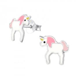 Zilveren Kinder Oorbellen Eenhoorn Roze