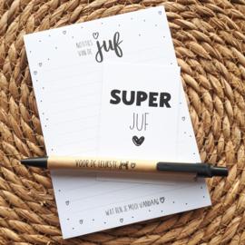 Notitieblok SuperJuf met pen en kaartje   Juf kadootje, einde schooljaar, bedankt juf