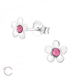 Zilveren Kinder Oorbellen Bloem Roze