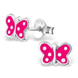 Zilveren Kinder Oorbellen Vlinder Fuchsia Roze met stippen