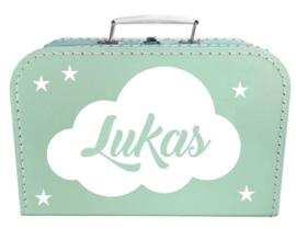 Kinder Koffertje met naam in wolk model Lukas, 25cm