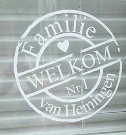 Sticker met naam en huisnummer
