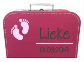 Kinder Koffertje met naam en geboortedatum model Lieke, 25cm