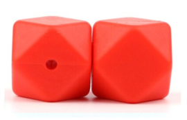 Siliconen Kraal Hexagon 14mm Rood