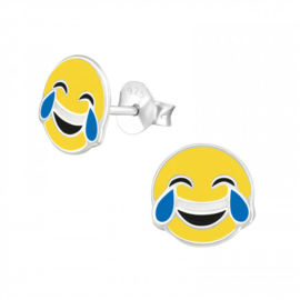 Zilveren Kinder Oorbellen Smiley lachend