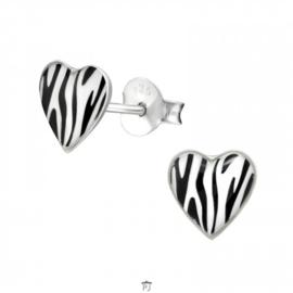 Zilveren Kinder Oorbellen Hartje met Zebraprint