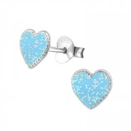 Zilveren Kinder Oorbellen Hartje Glitter Blauw