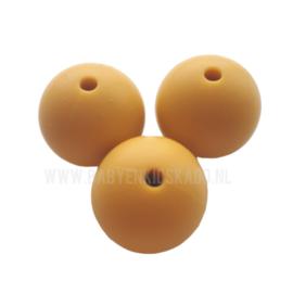 Siliconen Kraal rond Mosterd Geel / Oker geel 12mm | speenkoord kralen