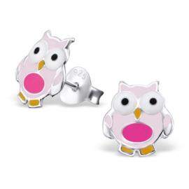 Zilveren Kinder Oorbellen Uiltje Roze