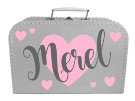 Kinder Koffertje met naam en hartjes model Merel, 25cm