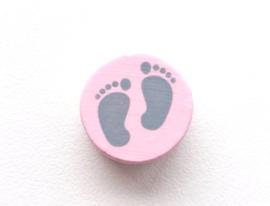 Speenkoord Kraal Babyvoetjes Licht Roze/Donker Grijs 16mm