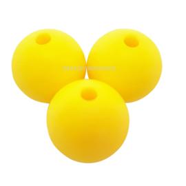 Siliconen Kraal geel 15mm