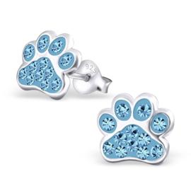 Zilveren Kinder Oorbellen Hondepootje Blauw