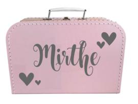 Kinder Koffertje met naam en geboortedatum model Mirthe, 25cm