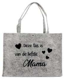 Vilten tas met opdruk  ''Deze tas is van de liefste mama' | Moederdag
