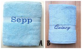 Handdoek met naam Aqua Blauw 50x100