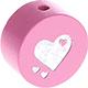 Speenkoord Kraal Glitter Hartjes Roze 20mm