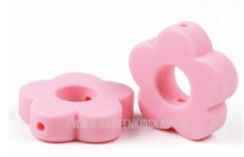 Siliconen Kraal Bloem Candy Licht Roze 27x27mm
