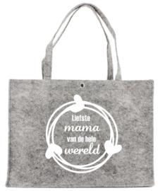 Vilten tas met opdruk Liefste mama van de hele wereld | Leuk kado voor bijv. Moederdag