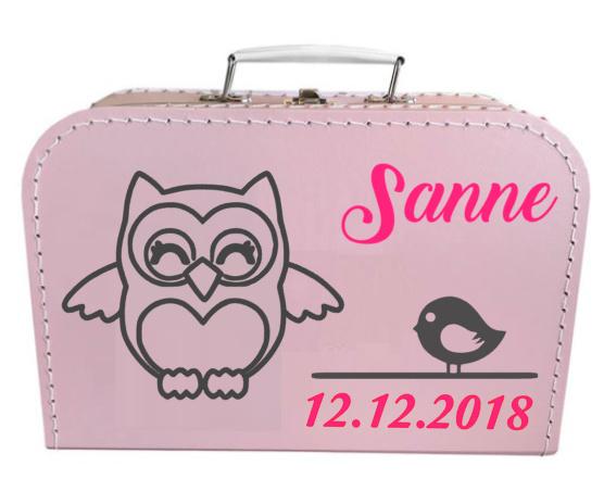 Kinder Koffertje met naam en uiltje en vogeltje model Sanne, 25cm