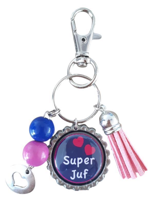 Sleutelhanger Super Juf Roze & Blauw | Bedankje voor einde schooljaar