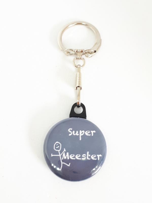 Sleutelhanger Super Meester Grijs