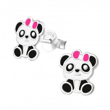 Zilveren Kinder Oorbellen Panda Zwart/Wit