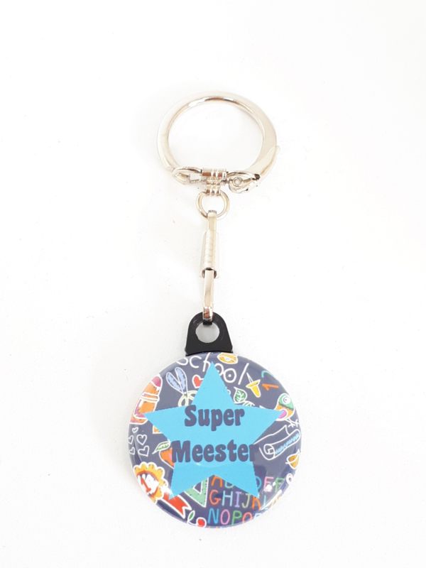 Sleutelhanger Super Meester Donker Blauw