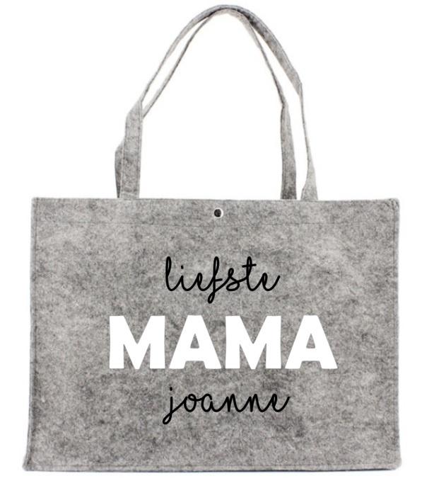 Vilten tas met opdruk Liefste MAMA ..... |  Leuk kado voor bijv. Moederdag
