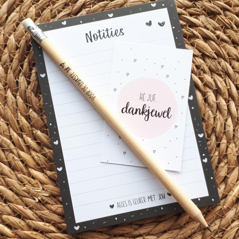 Notitieblok Juf hartjes met pen en kaartje | Juf kadootje, einde schooljaar, bedankt juf