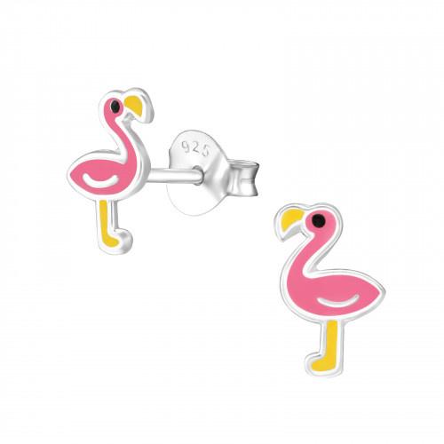 Zilveren Kinder Oorbellen Flamingo Roze