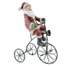 Kerstman op fiets  (Clayre & Eef)