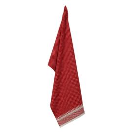 Theedoek rood met witte stippen (Clayre& Eef)