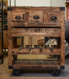 houten trolley met laatjes